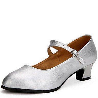 Silence @ Chaussures de danse pour femme moderne Cuir Chunky Talon Noir/rouge/argenté Red