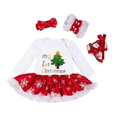 (BabyPreg® Baby Mädchen Mein erstes Weihnachten Sankt Kostüm-Partei-Kleid 4PCS (L 9-12 Monate, Baum))