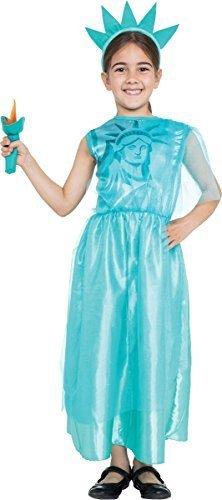 ng Kostümparty Buch Woche USA amerikanisch Freiheitsstatue Mädchen Kostüm Outfit - Himmelblau, Large 134cm - 146cm (Freiheitsstatue Kostüm Für Kinder)