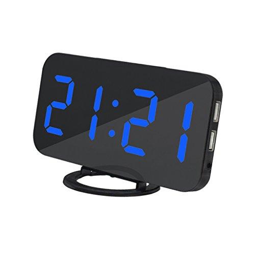 non-brand Sharplace LED Reloj de Despertador Digital de Mesa con Puerto de Carga USB Dual para Cargador de Teléfono Móvil - Azul