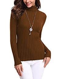 1371b6cb060 Abollria Womens Turtle Neck Long Sleeve Chunky Knit Ribbed Sweater Jumper  Knitwear Top