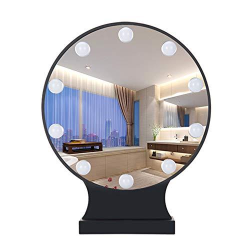 QLIGHA Espejo de Maquillaje LED con lámpara Espejo de Relleno Redondo de Escritorio Espejo de luz Interruptor...