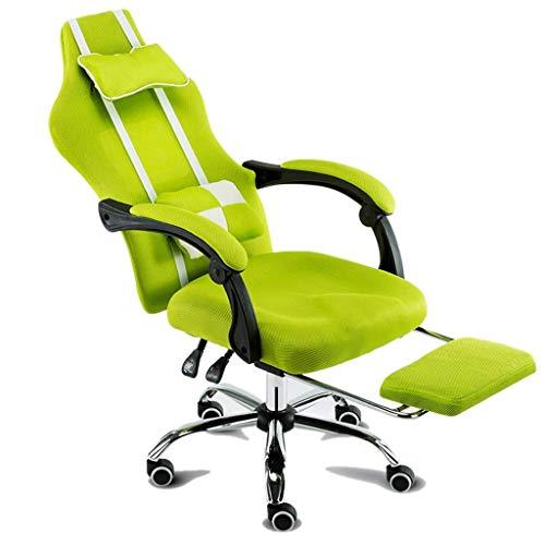 YWAWJ Büro Schreibtisch Gaming Stuhl High Back Computer Task Swivel Executive Rennstuhl for Rückenstütze mit Lordosenstütze einstellen Armlehne (Color : Green) -