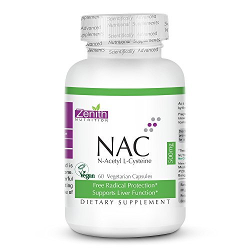 Zenith Nutrition Nac ( N-Acetyl L-Cysteine ) Liver & Antioxidant Support 500Mg - 60 Veg Capsules