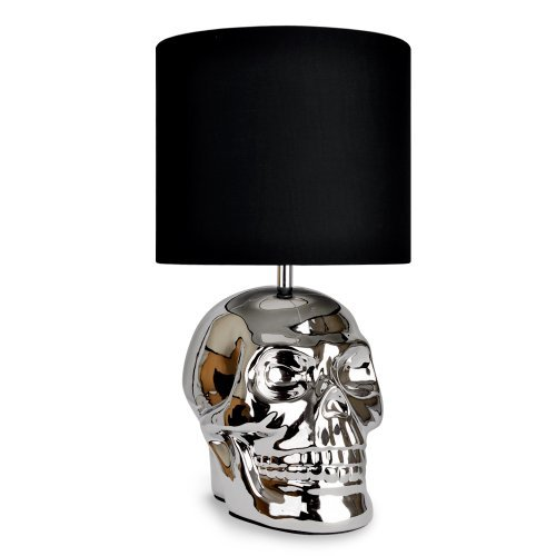 Skull lamp amazon modern silver chrome plated ceramic skull table lamp with black shade aloadofball Image collections