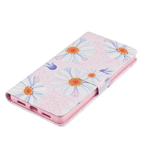 CareyNoce Apple 5C Coque,Flip Housse Etui Cuir PU Coque pour Apple iPhone 5C (4.0 pouces) -- DON'T TOUCH MY PHONE Chrysanthème blanc