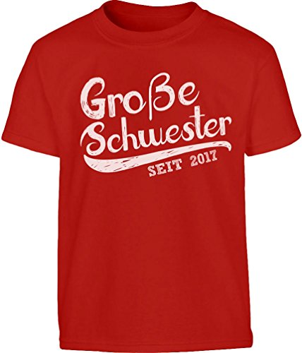 Geschenk für Große Schwester seit 2017 Kleinkind Kinder T-Shirt - Gr. 86-128 98 (2-3J) Rot (Große Schwester-kleinkind-shirt)