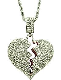 ef88c20d4308 SHYNAN Piedras Brillantes con Colgantes de corazón Roto y Populares Joyas  de Hip Hop. Regalos