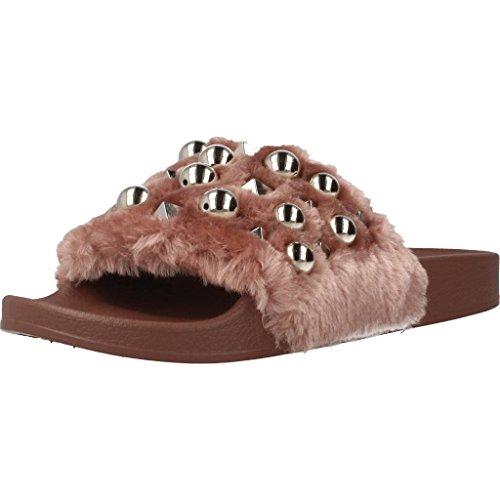 Steve madden ciabatta donna yeah/mauve, fashion con fascia pelo e perle, colore rosa, nuova collezione primavera estate 2018