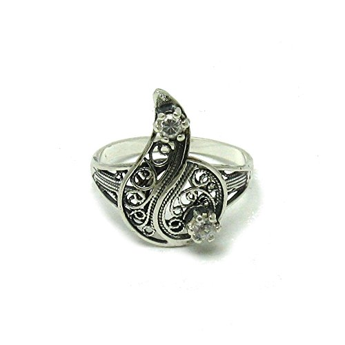 Silber Filigran Ring mit 2 CZ 925 Empress jewellery Größe 46-69