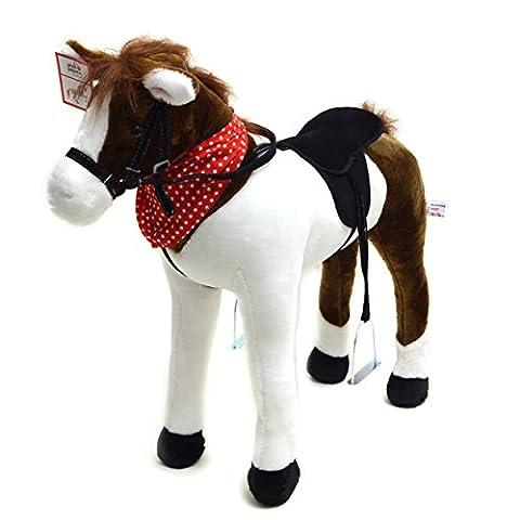 Plüschpferd XXL 75 cm - Stehpferd Jasper - fast lebensgroßes Spielpferd zum drauf sitzen bis 100 kg belastbar, mit verschiedenen Sounds, Spielzeug Pferd zum Träumen von Pink Papaya Toys