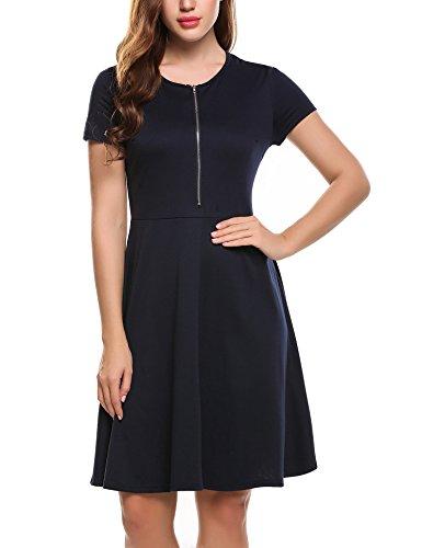 Zeagoo Damen Rundhals Kleid Reißverschluss Vorne Freizeitkleid Sommerkleider A-Linie Knielang Marineblau Reißverschluss Kleid