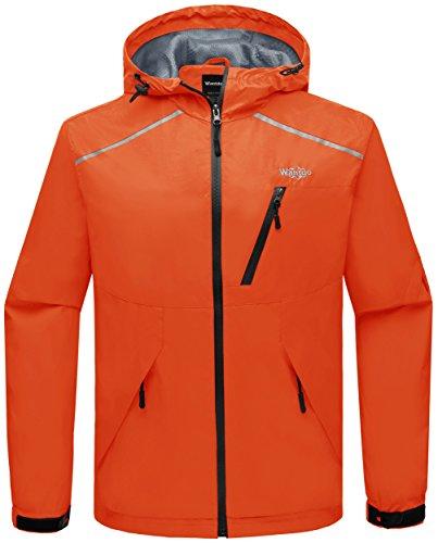 Wantdo Leichte Wasserdichte Winddichte Softshell Jacke Regenjacke mit Kapuze Orange