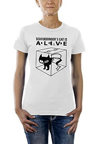 Touchlines Damen T-Shirt Schroedingers Cat Is Alive, white, L, B220213LT