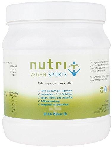 Veganes BCAA PULVER ohne Zusatz, Süßstoff + Geschmack - 2:1:1 500g - 99,7% WIRKSTOFF - HÖCHSTE DOSIERUNG - unflavoured - Neutral - DEUTSCHE PREMIUMQUALITÄT - Nutri-Plus Vegan Sports Pre-post-workout-protein