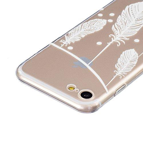 SainCat Custodia per Apple iPhone 7 Cover,Ultra Slim trasparente TPU Crystal Clear Morbido Copertura Case Cover per iPhone 7,Disegni Lusso Vans Belle Creative Marvel Fantasia Campanula Puro Trasparent Bianco-piuma