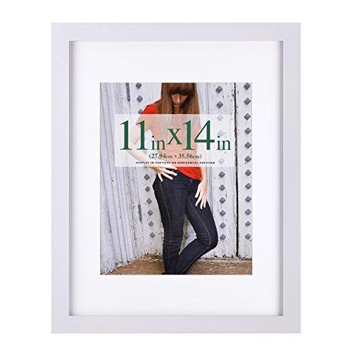 """27.94 x 35.56 cm (11x14 Inch) Bilderrahmen aus Massivholz High Definition-Glas für Bilder von 20.32 x 25.40 cm (8x10"""") mit Passepartout oder 27.94 x 35.56 cm (11x14"""") ohne Passepartout zur Wandbefest (Quadratische 11x11 Bilderrahmen)"""