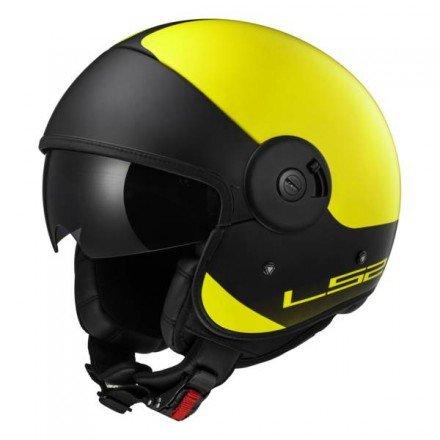 LS2 Casco Moto Of597 Cabrio Via, Matt Hi-Vis Yellow Black, L