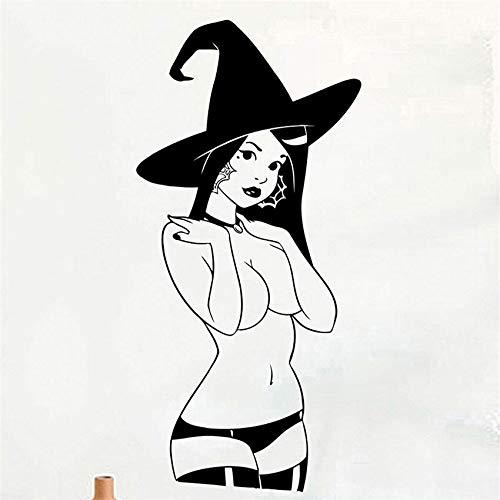 nyl Wand Applique Hexe Halloween Dekoration Aufkleber Vinyl wandbild Kunst Dekor Kindergarten Kinderzimmer Wandaufkleber 58 * 120 cm ()