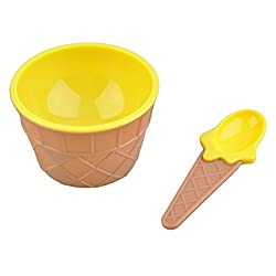 Generic 2016 Hot Sale Creative Kids Children Ice Cream Bowls Spoons Set Quality Double Layer Heat Insulation Cream Cups Dessert Bowl-Yellow