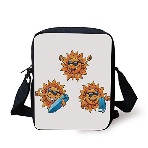 LULABE Cartoon,Surf Sun Characters Wearing Shades and Surfboards Fun Hippie Summer Kids Decor Decorative,Orange White Print Kids Crossbody Messenger Bag Purse