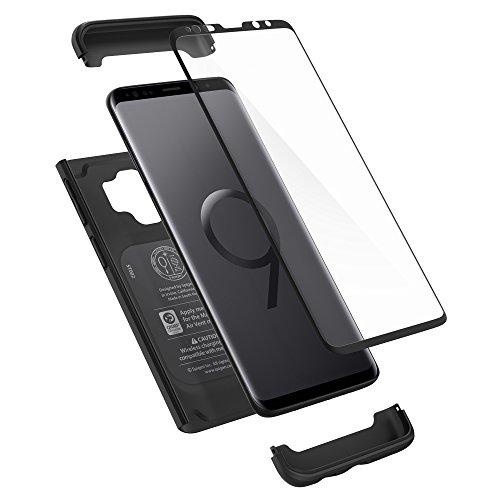 Spigen 592CS22872 Thin Fit 360 Kompatibel mit Samsung Galaxy S9 Hülle, 360° R&umschutz Gratis Panzerglas Handyhülle Schutzhülle Case Schwarz