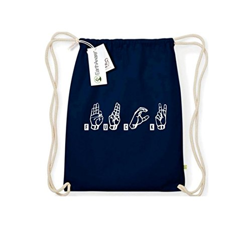 Shirtstown Organic Gymsac Zeichensprache FUCK blau