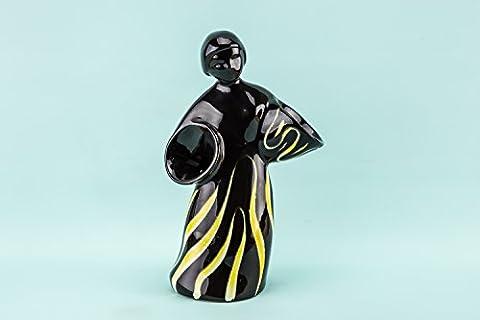Slick Vintage VASE Ceramic Stripy Modernist Serving Black Figure 1950s German LS