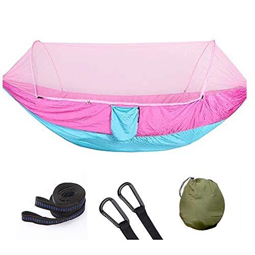 YOUDAN Fallschirm Nylon Hängematte, Tragbare Hängematte mit Moskitonetzen, Single Camping Hängematte, Schwimmender Hängemattenbaumgürtel und Karabiner Geeignet für Camping und Camping im Freien