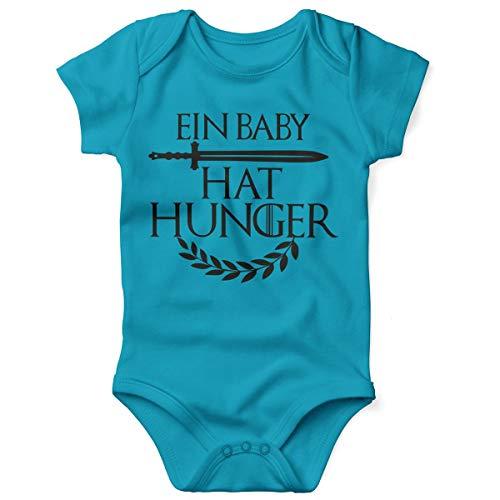 (Mikalino Babybody mit Spruch für Jungen Mädchen Unisex Kurzarm EIN Baby hat Hunger | handbedruckt in Deutschland | Handmade with Love, Farbe:Atoll, Grösse:62)