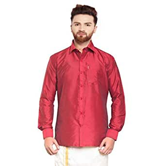 Men's Regular Fit Casual Shirt (SJS555_Fire Brick_42)