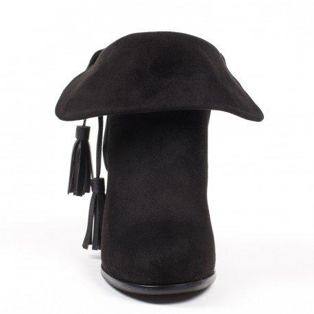 Ideal Shoes - Bottines effet daim à talons épais avec lanières à franges Zina Noir