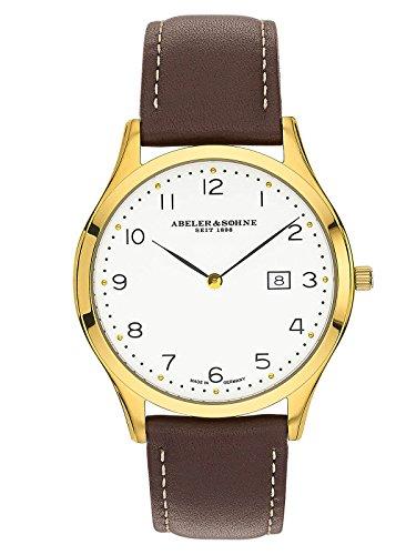 Abeler & Söhne Reloj de hombre fabricado en Alemania con cinta de piel, cristal de zafiro y fecha as3013