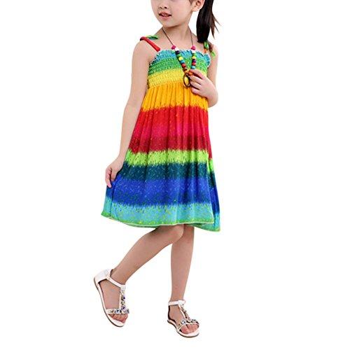 ESHOO Enfants Filles D'été Robe de plage En vacances Impression avec Collier