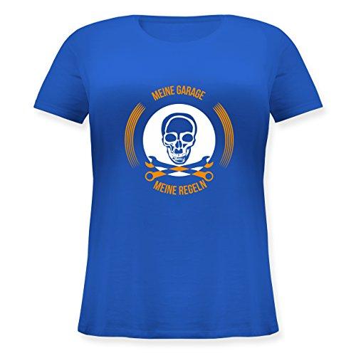 Statement Shirts - Meine Garage meine Regeln - Lockeres Damen-Shirt in großen Größen mit Rundhalsausschnitt Blau