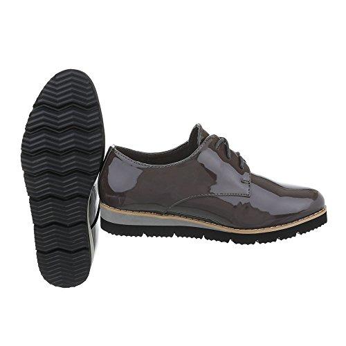 Ital-design - Chaussures Basses Pour Femmes Grau Braun Ll86