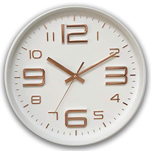 pomelogreem Quarz Dekorative Klassische Uhr,12-Zoll-kreative Quarz-Wanduhr, große Charakter Wohnzimmeruhr, Moderne Uhr @ White Frame Gold,Nostalgie Wanduhr