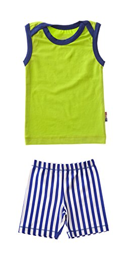 Claesen's Baby Boys' Clothing Set (CL14013/CL14366_Lime and Cobalt Star Stripes_6-9 M)