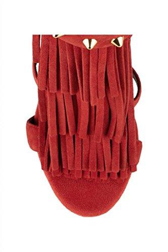 Onlymaker Damenschuhe High Heels Open Freie Toe Zip Reissverschluss Frsansen Sandale Rot