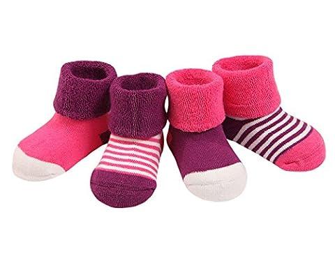 Quatre Paires Chaussettes Epaissir Bébé Fille Garçon 6-12 Mois en Coton Peigné Respirant Hiver Chaude Chaussette – Rose Violet
