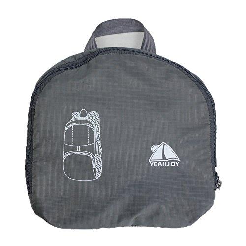 yeahjoy 35L leichter Travel Gear Faltbare Rucksack Wandern Daypack Radfahren Schule Air Reisen Carry On Rucksackreisen für Damen und Herren Grau