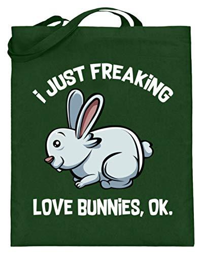 Kleidungskulisse I Just Freaking Love Bunnies Ok Ideales Geschenk für Kaninchen Hasen Kleintiere Liebhaber - Jutebeutel (mit langen Henkeln) -38cm-42cm-Grün