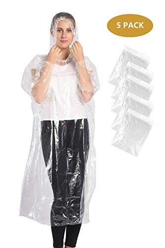 KASU Emergency Waterproof Ponchos - Thick Disposable Poncho - Pac a Mac with Drawstring Hood - Rain Gear for Outdoor Recreation, Festivals, Camping, Hiking