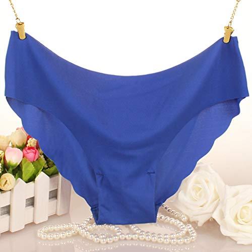 Fenverk Unterhosen Damen Panties Slips Mittlere Taille Atmungsaktive Taillenslip Soft Hipster Mit Spitze Bikinislips EinheitsgrÖsse(Blau,L) - 3