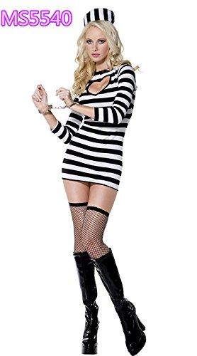 DLucc Halloween Uniformen female schwarz-weiß gestreiften Häftlingskleidung Nachtklub-Party - Schwarz Und Weiß Gestreiften Anzug Kostüm