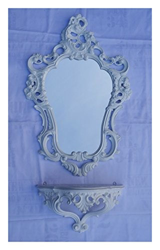 2-teiliges Set in Weiß bestehend aus Wandspiegel + Wandkonsole Oval Barock Antik 50x76cm Flur Eingangsmöbel Möbel Konsole Ablage Spiegel + Wandregal