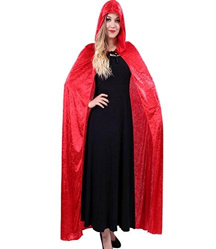 PB-SOAR Damen Herren Halloween Umhang Cape mit Kapuze Kostüm Karneval Fasching, 5 Farben auswählbar (Velvet Kostüme Red Mantel Kapuzen)