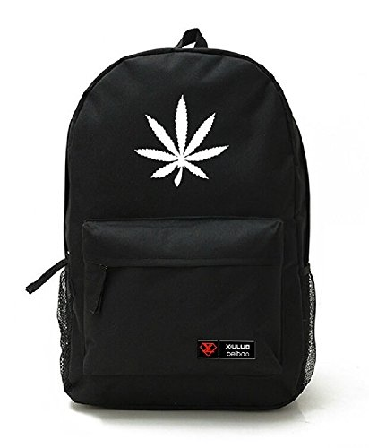 Yoyoshome unisex marijuana Weed Leaf Cannabis zaino scuola borsa a tracolla