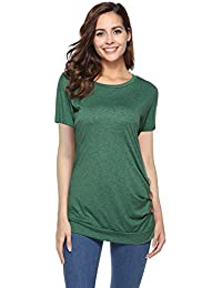 45300caccb7 NICIAS Womens Short Sleeve Casual Crew Neck Loose Tunic Tops Blouse T-Shirt  With Buttons