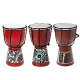 JOYKK 4 Pulgadas Profesional Africano Tambor Bongo Madera Buen Sonido Instrumento Musical - Colorea al Azar